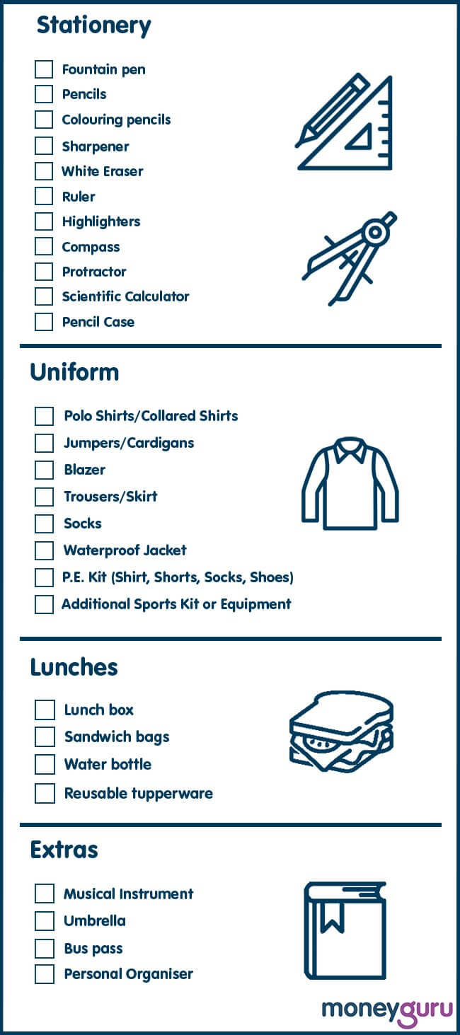 back to school checklist 2019 image
