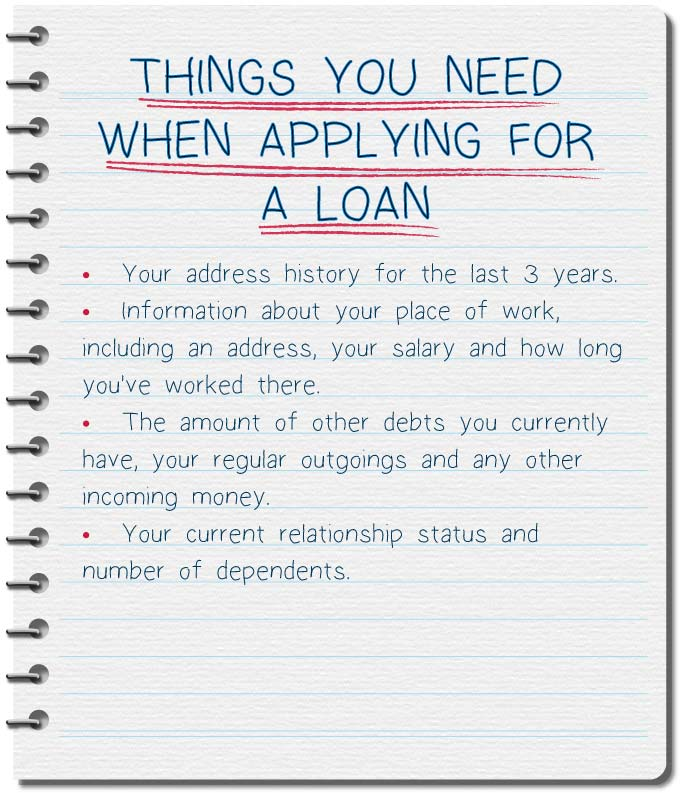 List of what you need when applying for a loan with bad credit